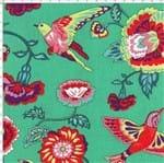 Tecido Estampado para Patchwork - Modern Oriental: Floral Eden com Pássaros Fundo Verde (0,50x1,40)