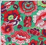 Tecido Estampado para Patchwork - Modern Oriental: Floral Fundo Verde (0,50x1,40)