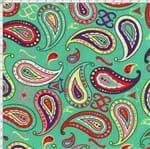 Tecido Estampado para Patchwork - Modern Oriental: India Paisley Fundo Verde (0,50x1,40)