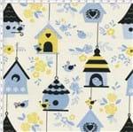 Tecido Estampado para Patchwork - Mundo dos Pássaros Casas de Passarinhos Azul Fog (0,50x1,40)