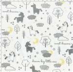 Tecido Estampado para Patchwork - Mundo dos Sonhos Unicórnio e Núvens Cinza (0,50x1,40)