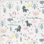 Tecido Estampado para Patchwork - Mundo dos Sonhos Unicórnio e Núvens Rosa (0,50x1,40)