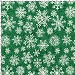Tecido Estampado para Patchwork - Natal 338508 Flocos de Neve (Verde) Cor 370 (0,50x1,40)