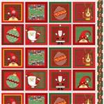 Tecido Estampado para Patchwork - Natal 338508 Quadrado Amigos do Natal Cor 300 (0,60x1,40)