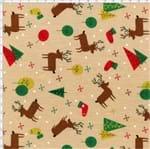 Tecido Estampado para Patchwork - Natal 338508 Renas Cor 390 (0,50x1,40)