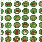 Tecido Estampado para Patchwork - Natal Button Natalinos Fundo Verde (0,50x1,40)