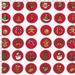 Tecido Estampado para Patchwork - Natal Button Natalinos Fundo Vermelho (0,50x1,40)