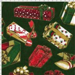 Tecido Estampado para Patchwork - Natal Caixas de Presente Fundo Verde C98 (0,50x1,40)