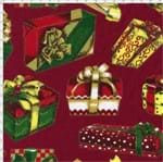 Tecido Estampado para Patchwork - Natal Caixas de Presente Fundo Vermelho C99 (0,50x1,40)