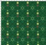 Tecido Estampado para Patchwork - Natal Floco de Neves e Estrelas Fundo Verde (0,50x1,40)