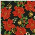 Tecido Estampado para Patchwork - Natal Flores Natalinas Cor 02 (0,50x1,40)
