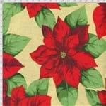 Tecido Estampado para Patchwork - Natal Poinsetia Fundo Bege (0,50x1,40)