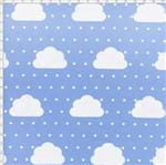 Tecido Estampado para Patchwork - Nuvens Pequenas com Poá Azul Cor 02 (0,50x1,40)