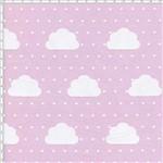 Tecido Estampado para Patchwork - Nuvens Pequenas com Poá Rosa Cor 01 (0,50x1,40)