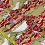 Tecido Estampado para Patchwork - Paisagem Urbana: Verde Oliva (0,50x1,50)