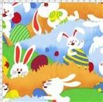 Tecido Estampado para Patchwork - Páscoa: Caça Aos Ovos (0,50x1,40)