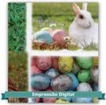 Tecido Estampado para Patchwork - Páscoa Digital Coelhos com Ovos (0,60x1,40)