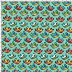 Tecido Estampado para Patchwork - Passarinho Textura Fundo Verde Claro Cor 01 (0,50x1,40)