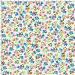 Tecido Estampado para Patchwork - Petits Roses II Floral Fundo Branco com Flores Azul e Rosa (0,50x1,40)