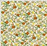 Tecido Estampado para Patchwork - Petits Roses II Rosas e Botões Fundo Branco com Rosas Laranja (0,50x1,40)