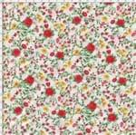 Tecido Estampado para Patchwork - Petits Roses II Rosas e Botões Fundo Branco com Rosas Vermelha (0,50x1,40)