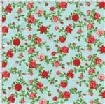 Tecido Estampado para Patchwork - Petits Roses II Rosas Miúdas Azul com Rosas Vermelhas (0,50x1,40)