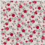 Tecido Estampado para Patchwork - Petits Roses II Rosas Miúdas Bege com Rosas Vermelhas (0,50x1,40)