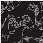 Tecido Estampado para Patchwork - Playstation Console Fundo Preto (0,50x1,40)