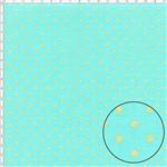 Tecido Estampado para Patchwork - Poá Dourada Fundo Azul Tiffany Cor 02 (0,50x1,40)