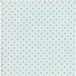 Tecido Estampado para Patchwork - Poá Dourado Fundo Azul Claro Cor 05 (0,50x1,40)