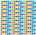 Tecido Estampado para Patchwork - RB036 Corações Coloridas Cor 01 (0,50x1,40)