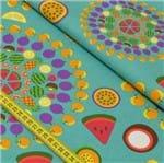 Tecido Estampado para Patchwork - Salada de Frutas: Mandala de Frutas (0,50x1,50)