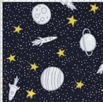 Tecido Estampado para Patchwork - Saturno Planetas e Foguetes Fundo Cinza (0,50x1,40)