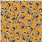 Tecido Estampado para Patchwork - Turma da Mônica: Cascão Fundo Laranja (0,50x1,40)