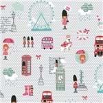 Tecido Estampado para Patchwork - Vanessa Guimarães Coleção London - Pink London Cinza (0,50x1,40)