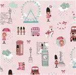 Tecido Estampado para Patchwork - Vanessa Guimarães Coleção London - Pink London Rosa (0,50x1,40)