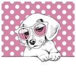 Tecido Quadrado Digital 49 X 49cm - Cachorrinho de Óculos
