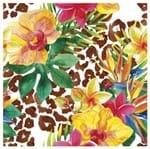 Tecido Quadrado Digital 49 X 49cm - Floral Fundo Onça