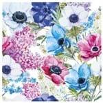 Tecido Quadrado Digital 49 X 49cm - Flores Azuis e Rosa Ref:8043