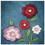 Tecido Quadrado Digital 49 X 49cm - Flores no Jeans Ref:8090