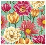 Tecido Quadrado Digital 49 X 49cm - Flores Pink
