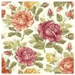 Tecido Quadrado Digital 49 X 49cm - Flores Rosê