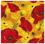 Tecido Quadrado Digital 49 X 49cm - Flores Vermelha