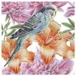 Tecido Quadrado Digital 49 X 49cm - Piriquito e Flores