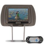 Tela Encosto Cabeça 7 Polegadas Lcd Dvd Usb Sd Mp3 Mp4 Função Game Ir Infravermelho Controle Cinza