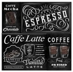 Tela Mosaico Expresso Coffee Type Preto e Branco
