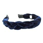 Tiara Trançada Veludo Azul Marinho
