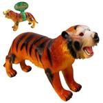 Tigre de Vinil Emborrachado Reino Animal com Som a Bateria 40x21cm