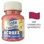 Tinta para Tecido Acrilex 37ml Vermelho Queimado 588