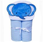 Toalha Bebê com Capuz e Forrada com Fralda Masculino Elefante Azul